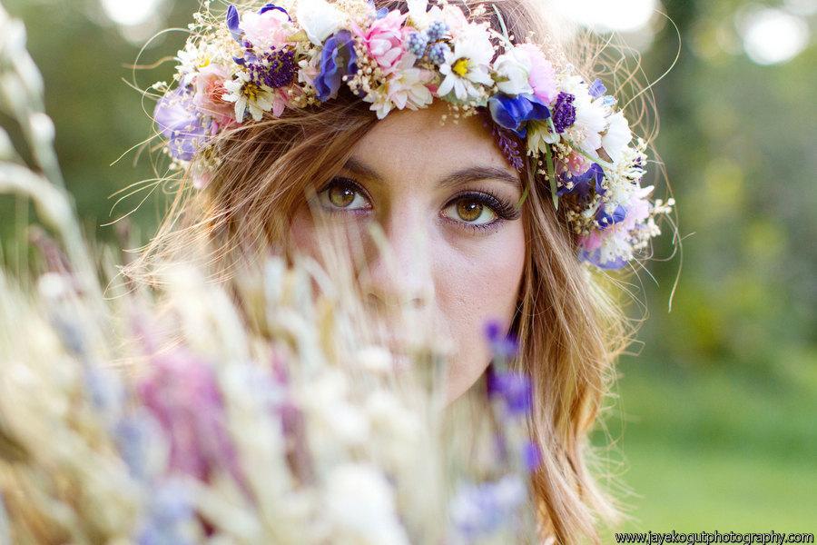 زفاف - Dried Flower Bridal Crown Floral hair wreath by Michele at AmoreBride Goddess Headdress wedding acessories pink blue artificial halo circlet