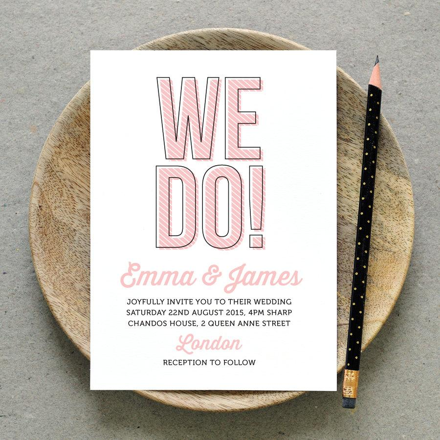 Hochzeit - Printable Wedding Invitation PDF / 'We Do!' Fun Wedding Invite / Pink and Black or Custom  / Digital File Only / Printing Also Available