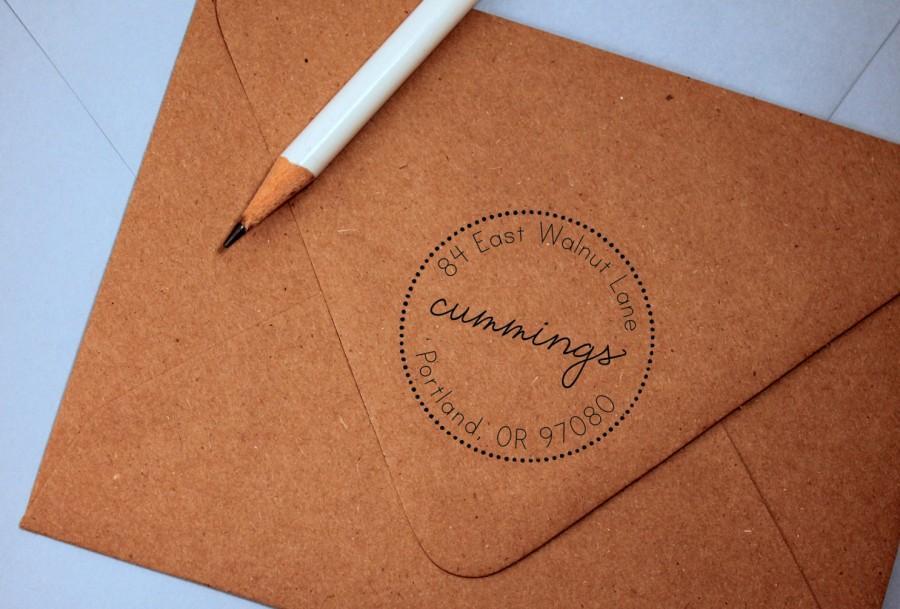 Hochzeit - Self Inking Return Address Stamp - round stamp return address stamp, black self inking stamp, rubber stamp wood handle