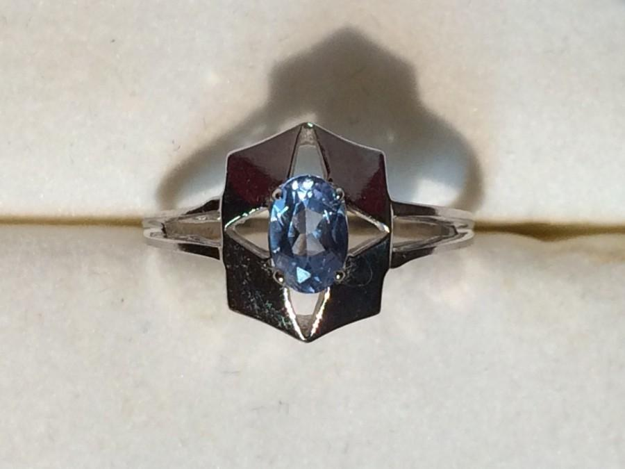 Mariage - Vintage Blue Spinel Ring in Art Deco 10k White Gold Setting. Unique Engagement Ring. Estate Jewelry. 65th Anniversary Stone. Statement Ring