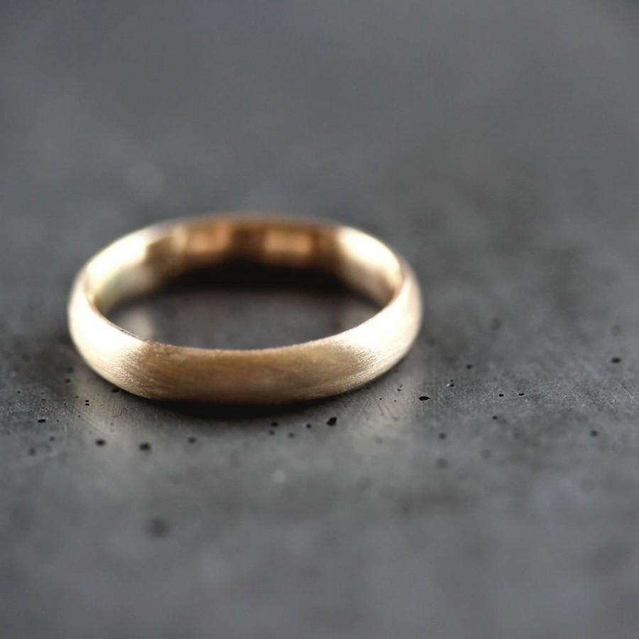 Gold Mens Wedding Band Brushed Or Womens Unisex 4mm Comfort Fit Recycled 10k Yellow Ring
