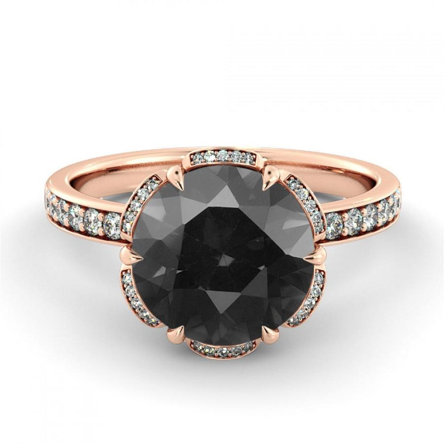 1 00 CT Natural Flower Black Diamond Filigree Engagement Ring 14k Rose Gold L