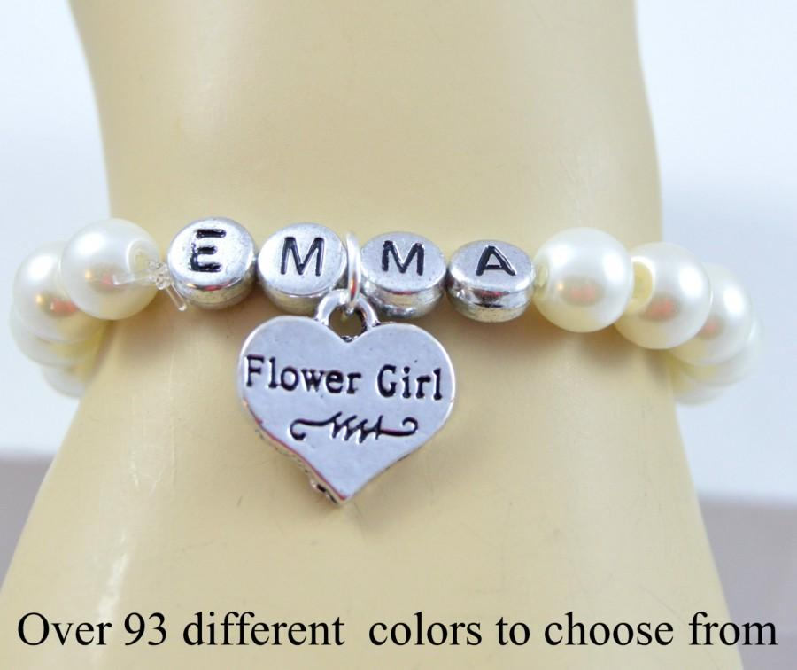 Flower Girl Name Bracelet Wedding Jewelry Wedding Pearl Bracelet