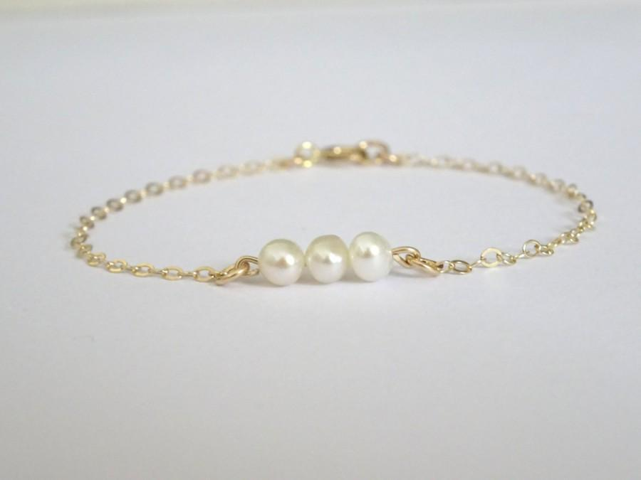 Wedding - Pearl Bracelet, make a Wish Bracelet, bridesmaid bracelet, Gold fill, Gift fo her