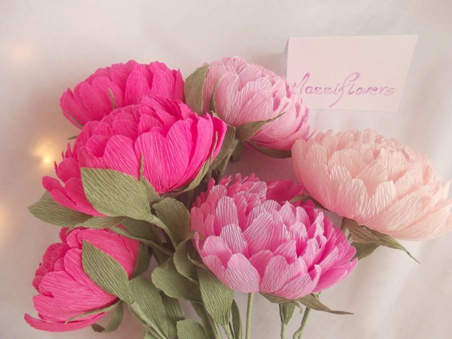Wedding Flowersbridal Bouquetwedding Peony 6pcspaper Flower Bouquetpink Peoniespaper