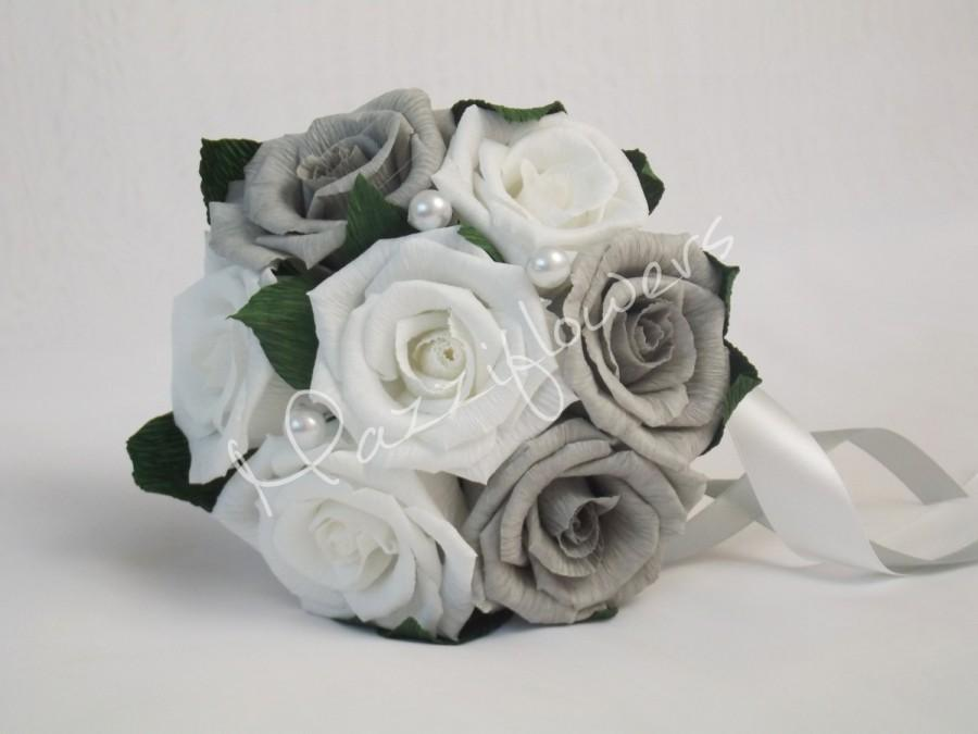 Wedding Bouquet Bridal Bridesmaid Paper Flower Gray And White Roses