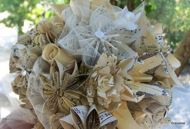 Paper flower bridal bouquet handmade customized with book pages map paper flower bridal bouquet handmade customized with book pages map flowers or sheet music bouquet mightylinksfo