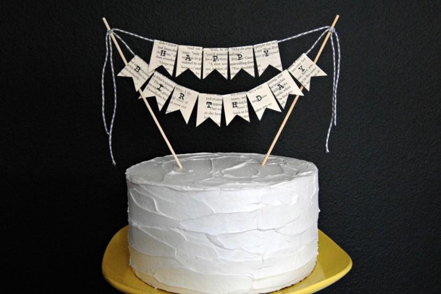 HAPPY BIRTHDAY Vintage Book Page Birthday Cake Topper, Bunting #2398319 - Weddbook