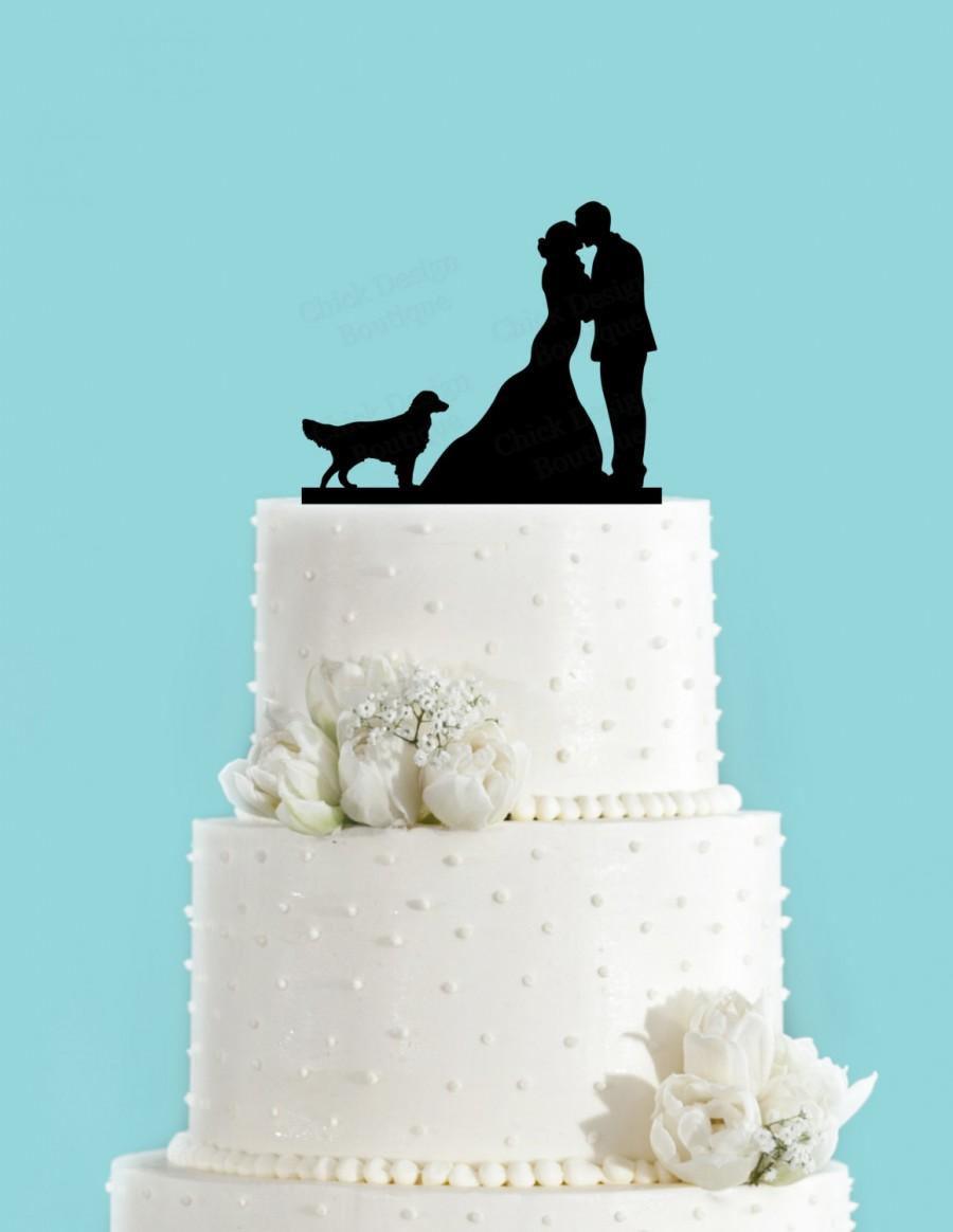 Wedding - Couple Kissing with Golden Retriever Dog Acrylic Wedding Cake Topper