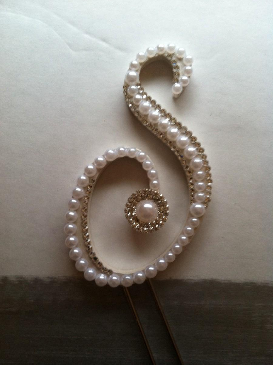 Mariage - Monogram Wedding Cake Topper Pearl Wedding Cake Topper with Swarovski Crystals Destination Wedding Letter S any letter A to Z