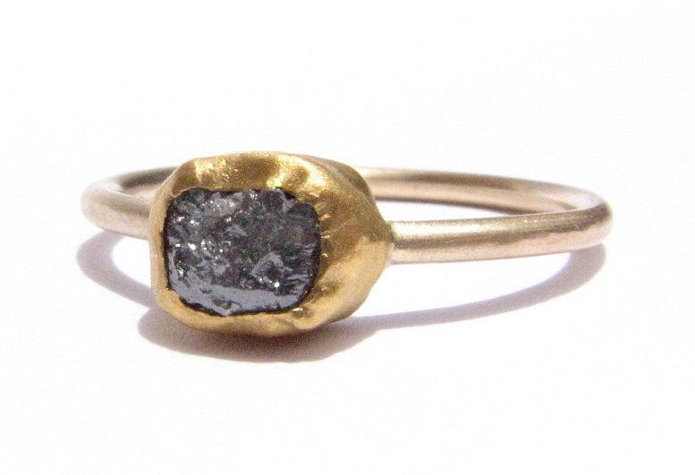 زفاف - Rough Diamond Ring -Solid Gold Ring -Stackable Ring -24k Yellow Gold -Engagement Ring -Diamond Gold -Engagement Diamond Ring -READY TO SHIP!