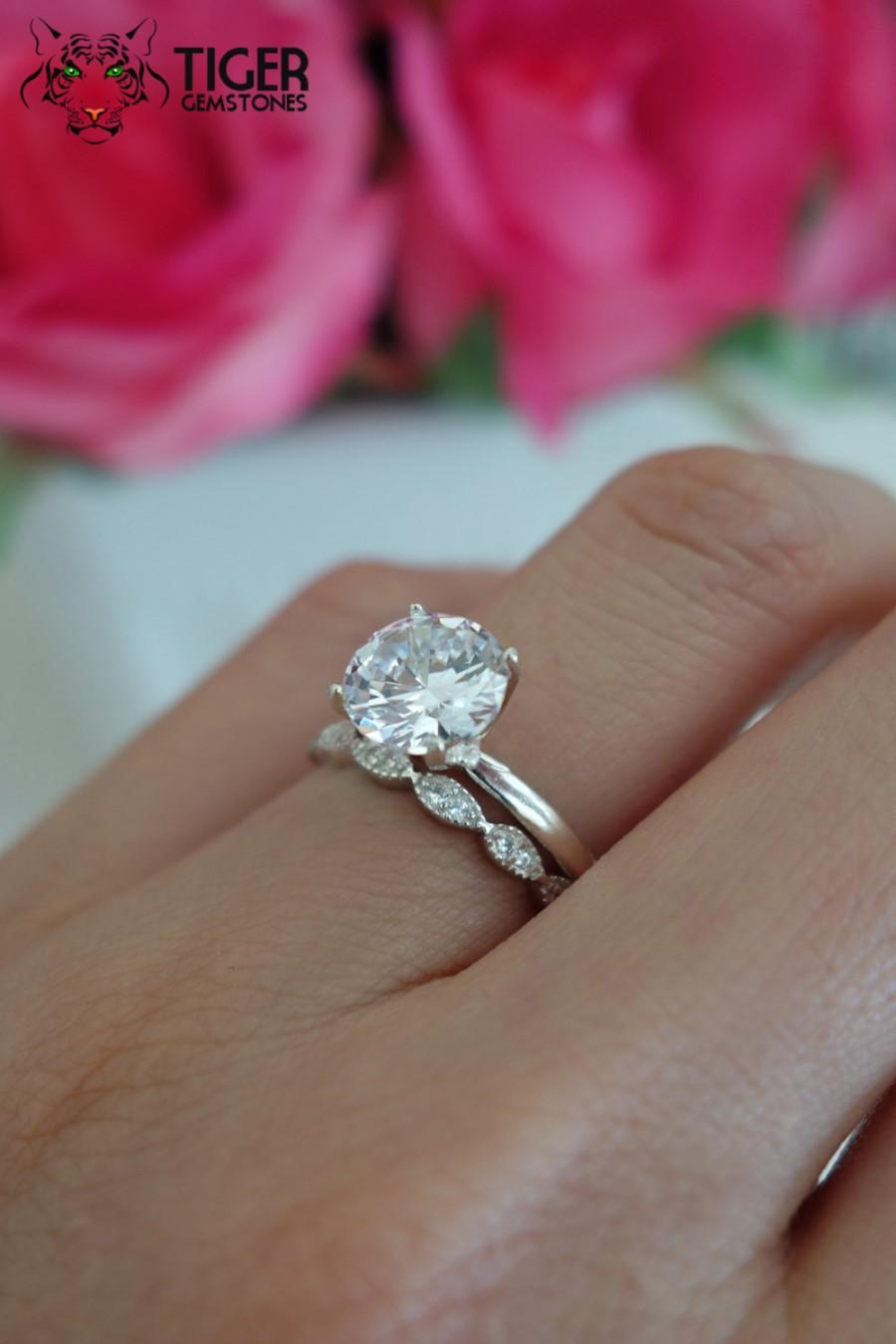 solitaire wedding set man made diamond simulants engagement ring
