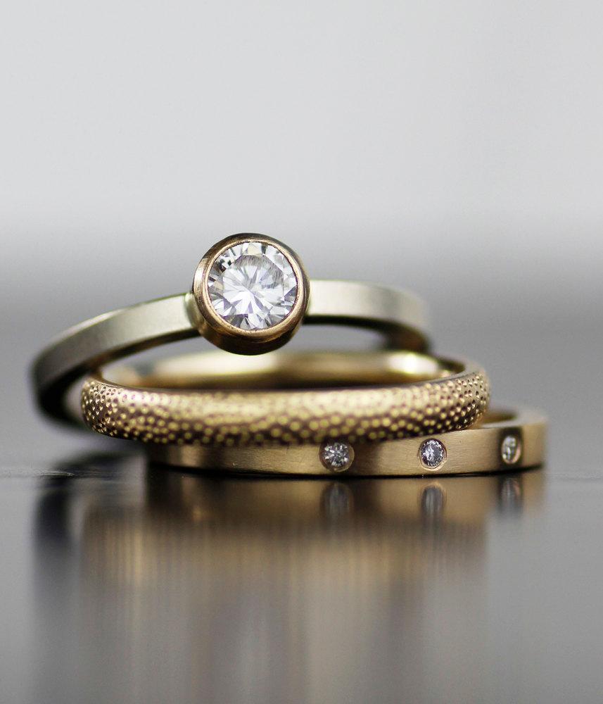 Engagement Ring Wedding Band Set Modern Moissanite Diamond Mixed Metals Stacking Set Eco Friendly Handmade 2398377 Weddbook