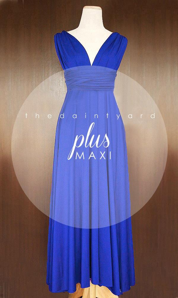 MAXI Plus Size Cobalt Blue Bridesmaid Dress Convertible ...