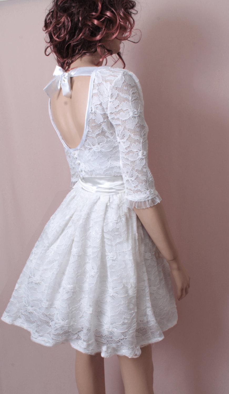 Wedding - White / Bridesmaid /  lace / wedding party    /cocktail  / mini / 3/4  sleeves / dress