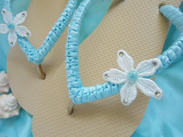 Blue Wedding Flip Flops Shoes Sandals Beach Sandal Bride Gift Starfish Bridal Honeymoon