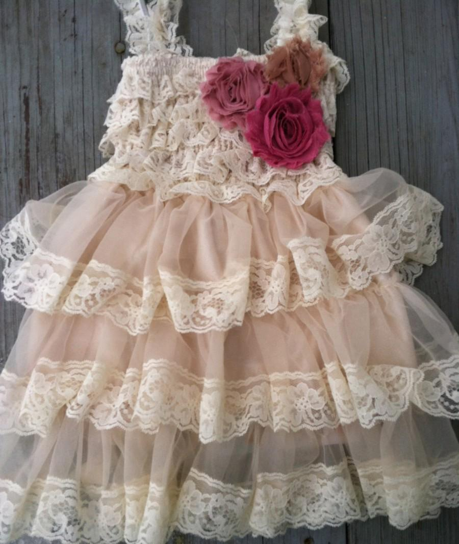Wedding - Rustic Flower Girl Dress- Mauve Flower Girl Dress-Champagne Flower Girl Dress-Dusty Rose-Vintage Flower Girl Dress- Lace Flower Girl Dress