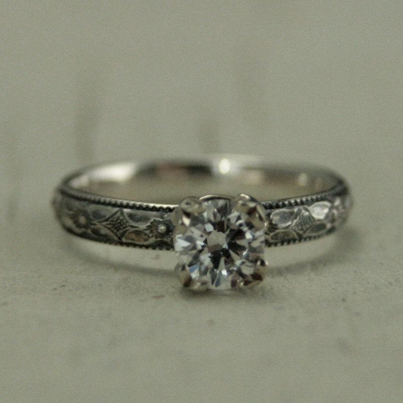Wedding - Vintage Style Hand Made Engagement Ring--White Sapphire, White Topaz or Cubic Zirconia--Silver with 14K White Gold Double Prong Setting