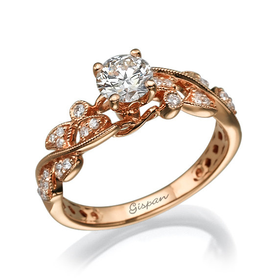 Leaves Engagement Ring Rose Gold 14k Prong Setting Conflict Free Diamond Ant