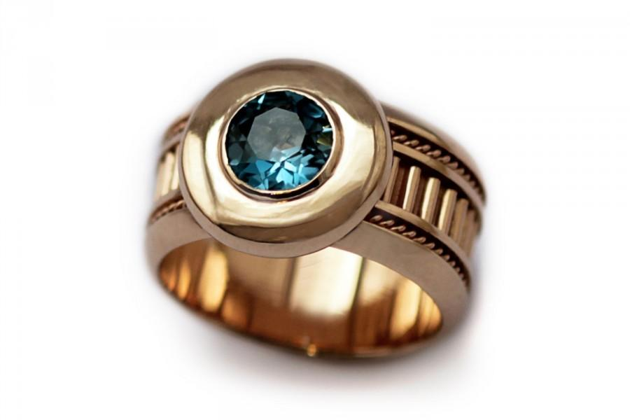 Mariage - Birthstone Topaz Ring-Rose Gold Engagement Ring, Rose Gold Blue Topaz Ring, Blue Topaz Engagement Ring, Unique Gold Ring14k Gold Topaz Ring