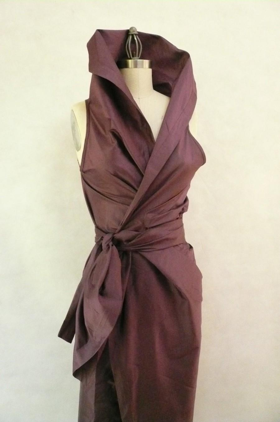 Mariage - Maria Severyna in Dusty Mauve Color Dupioni Wrap Dress