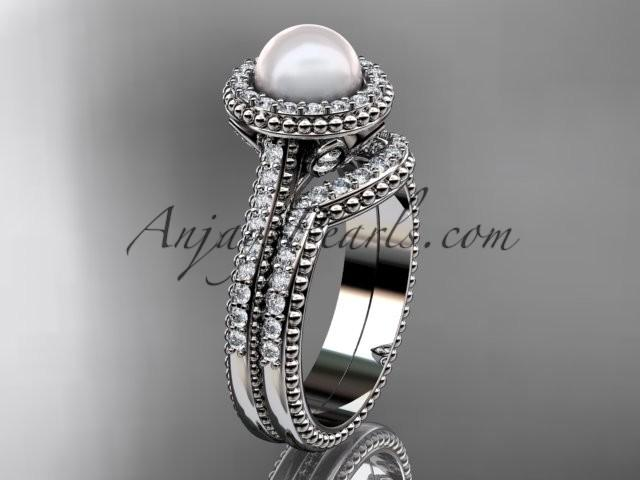 Boda - Platinum diamond pearl engagement set AP101S