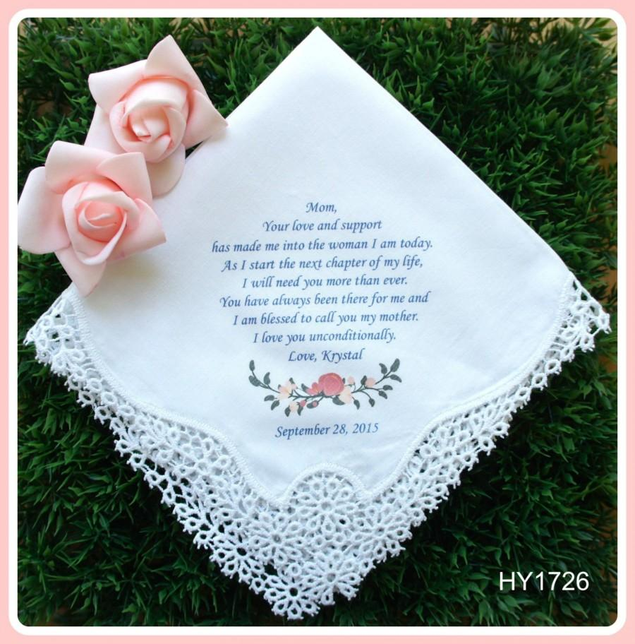 زفاف - Mother of the Bride Handkerchief-Wedding Hankerchief-PRINTED-CUSTOMIZED-Wedding Hankies-Mother in Law Gift-Mother of the Bride Gift