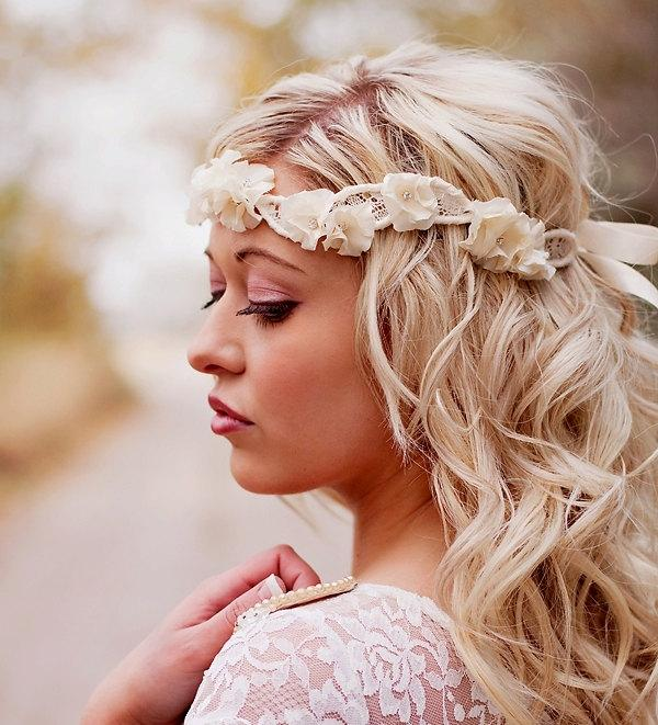 Halo Headband Flower Crown Bridal Head Piece Wedding Hair