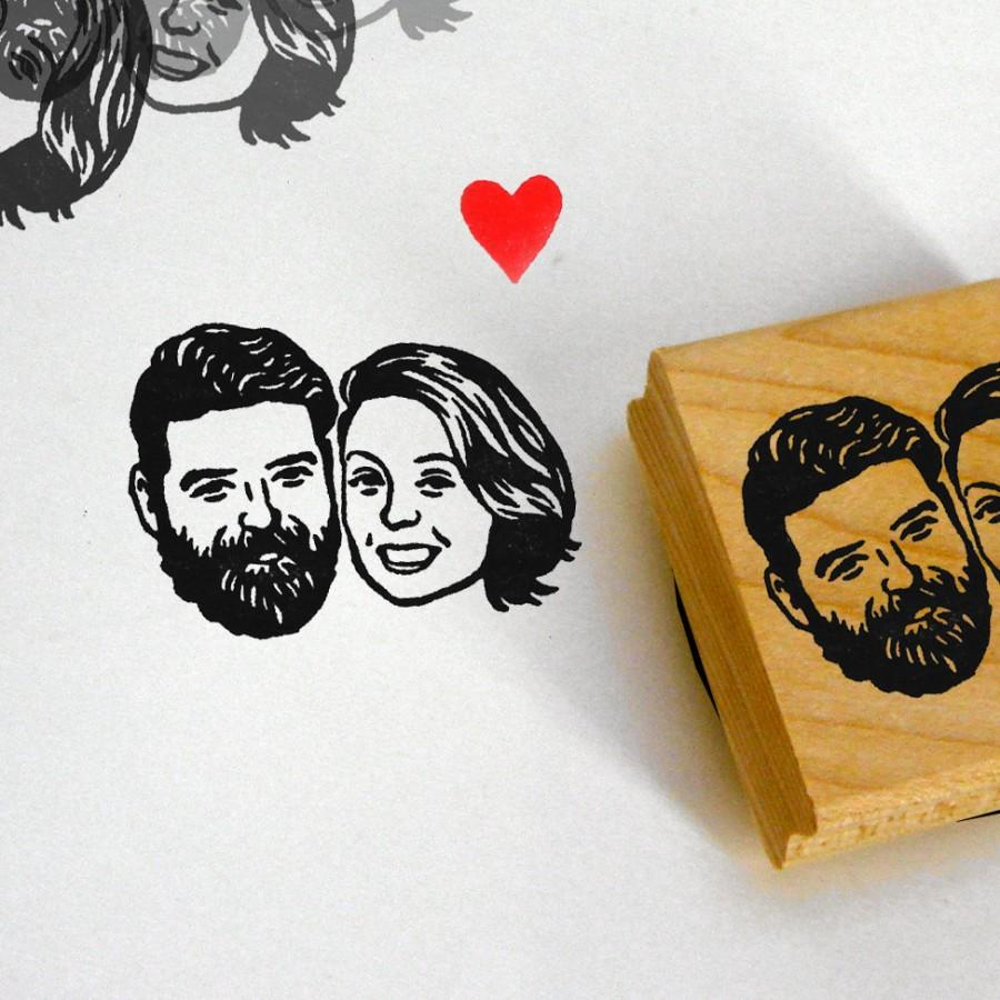 Свадьба - Custom wedding portrait stamp / couples gift / self inking / wood block mount / for invitation thank you save the dates bride face etc