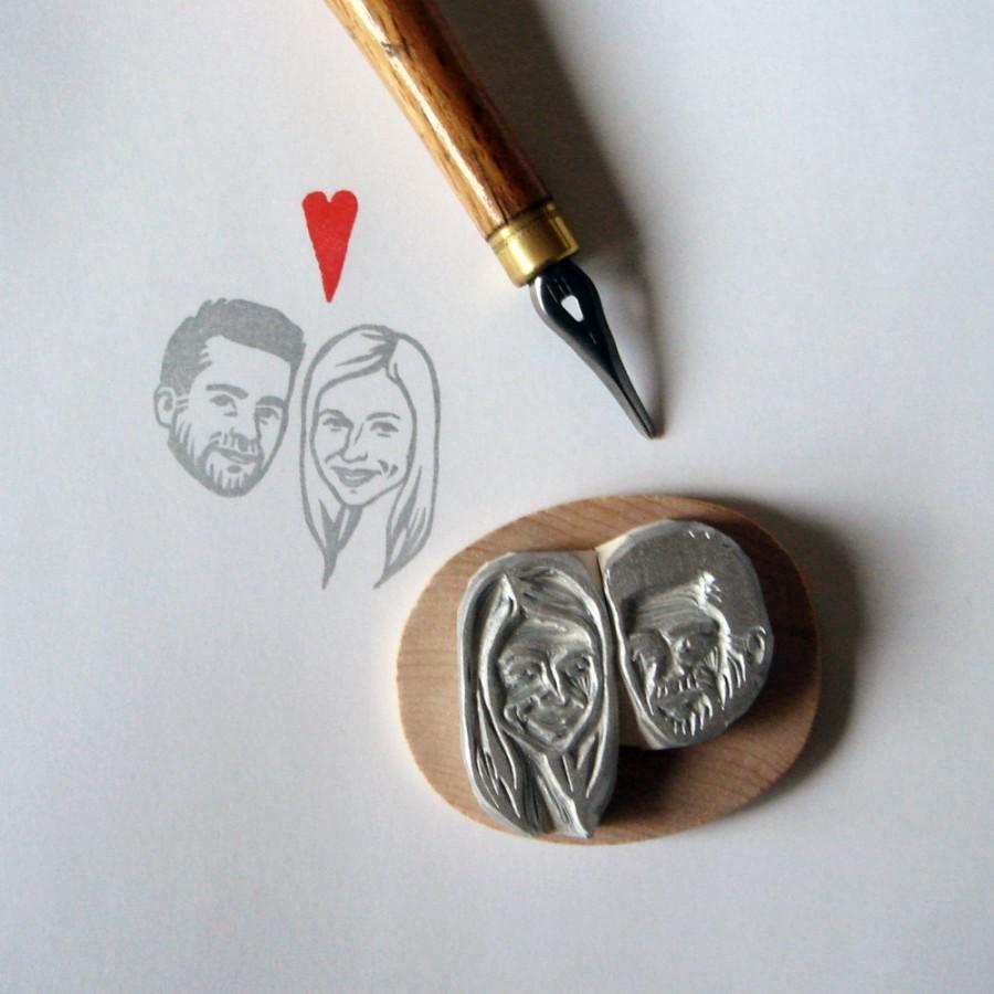 Custom wedding portraits stamps couple hand carved for Wedding dress rubber stamp