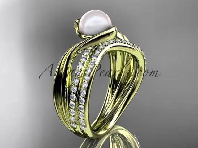 Wedding - 14k yellow gold diamond pearl engagement set AP78S