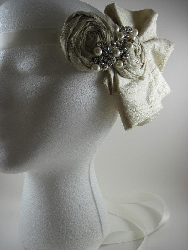 Свадьба - Bridal bandeau - head piece for wedding - headband - veil alternative - weddings