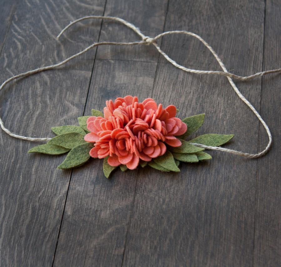 Hochzeit - Coral Felt Flower Tie Back Headband