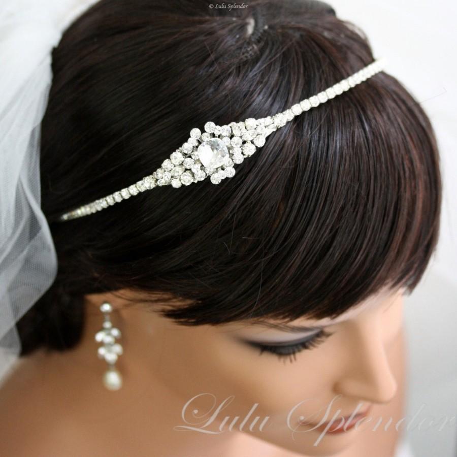 Hochzeit - Crystal Headband Wedding Hair Accessories Bridal Headband Swarovski Crystal Rhinestone Side Tiara Wedding Headpiece MANDY CRYSTAL