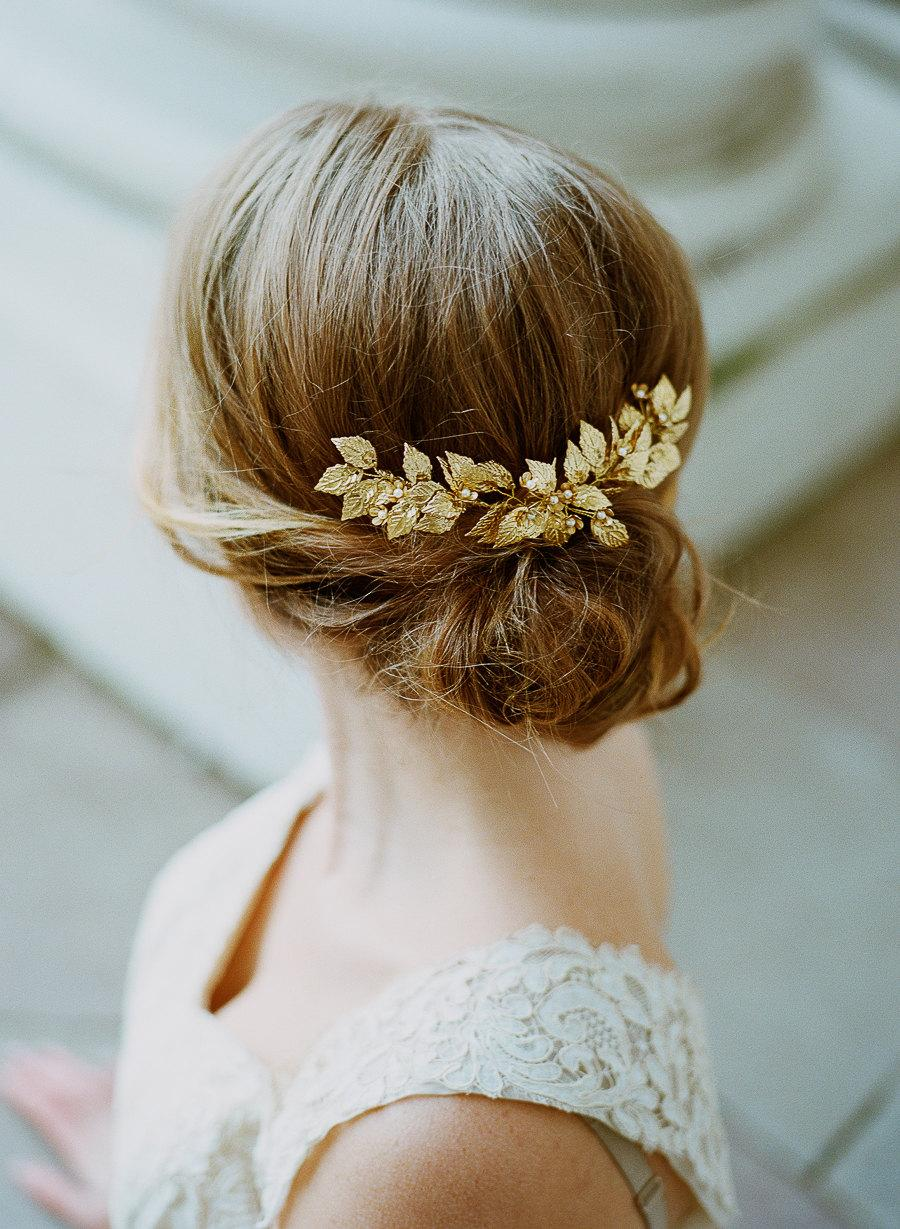 Hochzeit - Elsa Billgren for The Wild Rose Bridal headpiece, Brass headpiece, Brass leaf headpiece, gold hair accessory, bridal accessory