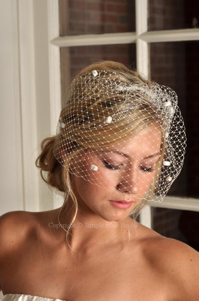 Свадьба - IVORY Bircage Veil - Russian Dot Net Bridal Birdcage - READY to SHIP
