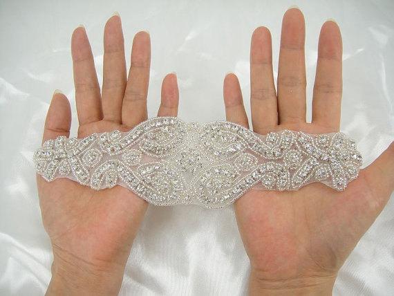 Mariage - Crystal Beaded Bridal Sash Maternity Belt Bridal Belt Rhinestone Sash Crystal Bridal Ribbon