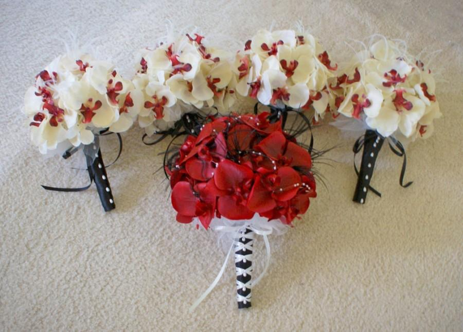 Wedding Bouquet Set In Red Real Touch Orchids And Ivory And Red