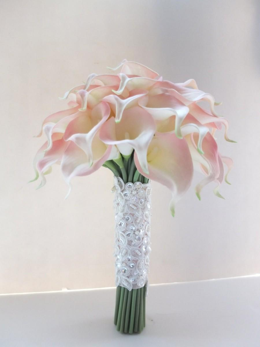 Hochzeit - Blush Pink Calla Lily bouquet, Bridal Bouquet, wedding bouquet