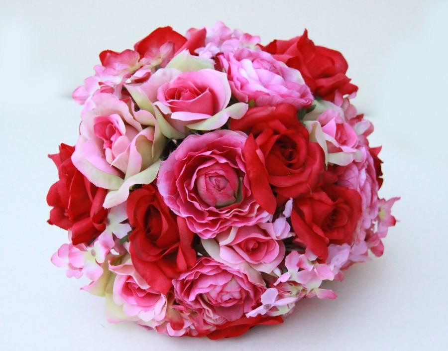 Pink Garden Rose And Hydrangea Bouquet bridal bouquet, wedding fabric bouquet pink red and roses pink