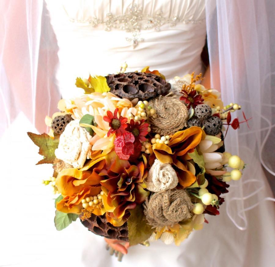 Wedding bouquet autumn rustic silk burlap and lace fall for Wedding bouquets for autumn