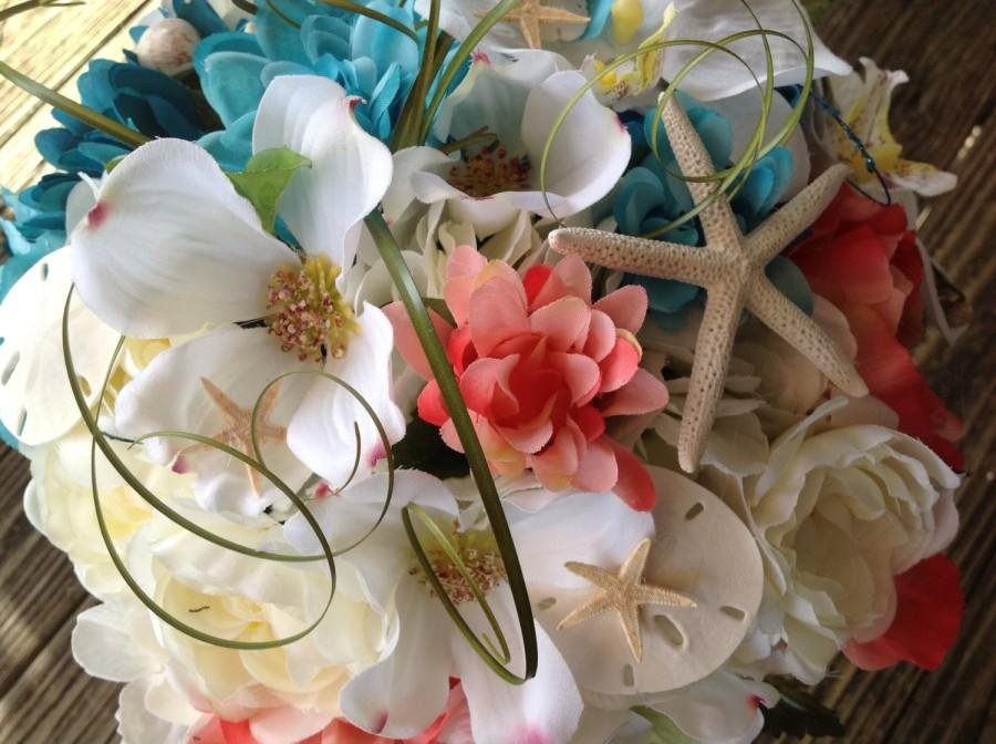 Mariage - Seaside Bridal Bouquet of Dogwood Peonies Roses and Seashells with Ranunculas for Beach Weddings