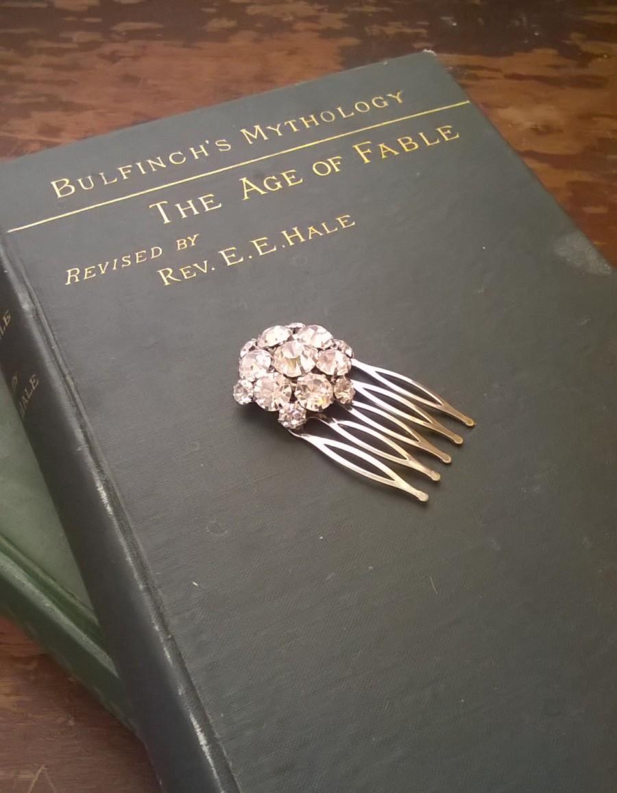 Mariage - Sarah Rhinestone Hair Comb Bridal Headpiece vintage style brooch