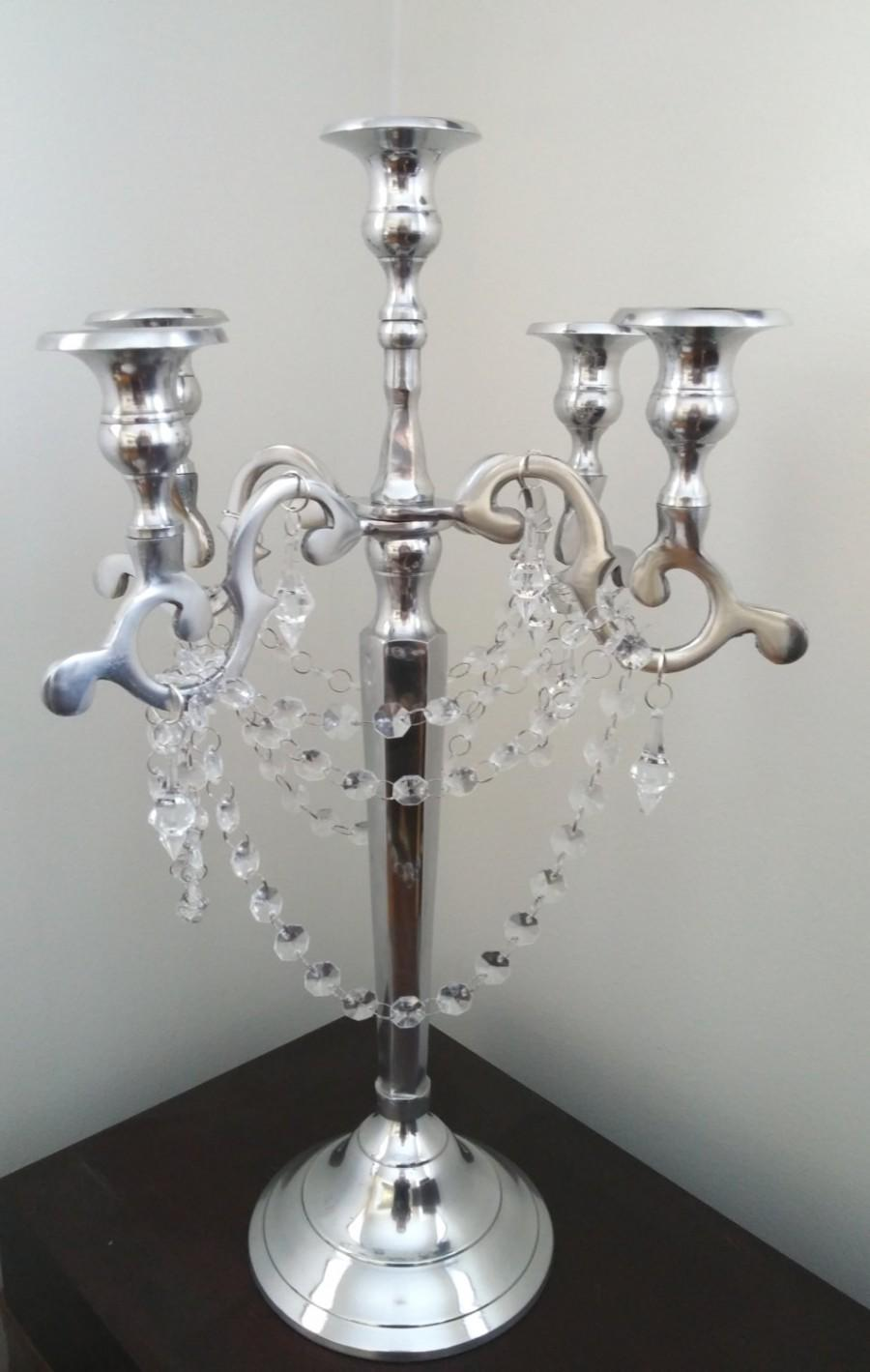 Glamorous arm silver candelabra with chandelier prisms