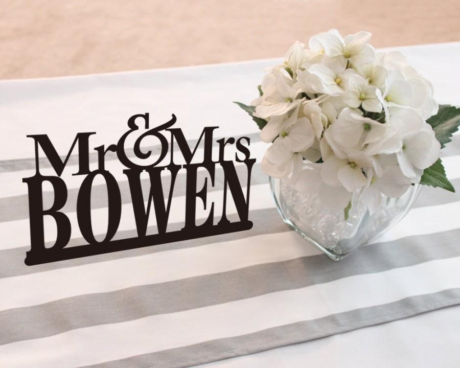 Mr Mrs Last Name Cake Topper Wedding Table Signs Custom Rustic Toppers Modern