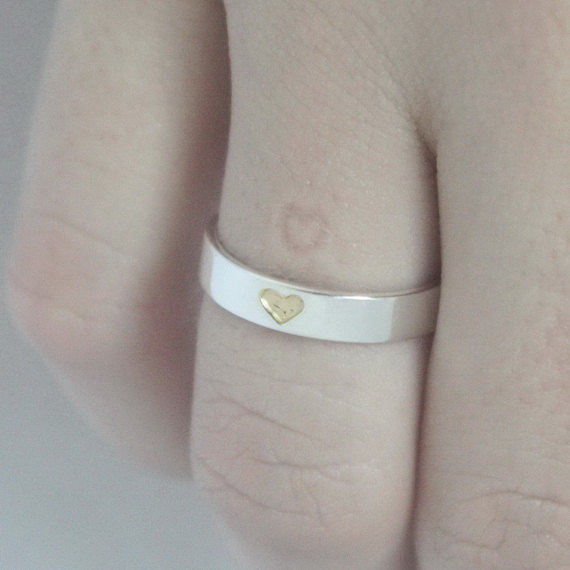 Heart Imprint Ring Hidden Heart Sterling Silver Ring With Tiny Gold