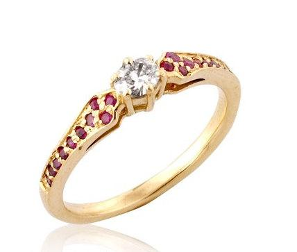Ruby Diamond Ring Antique Diamond Ruby Engagement Ring 14k Gold