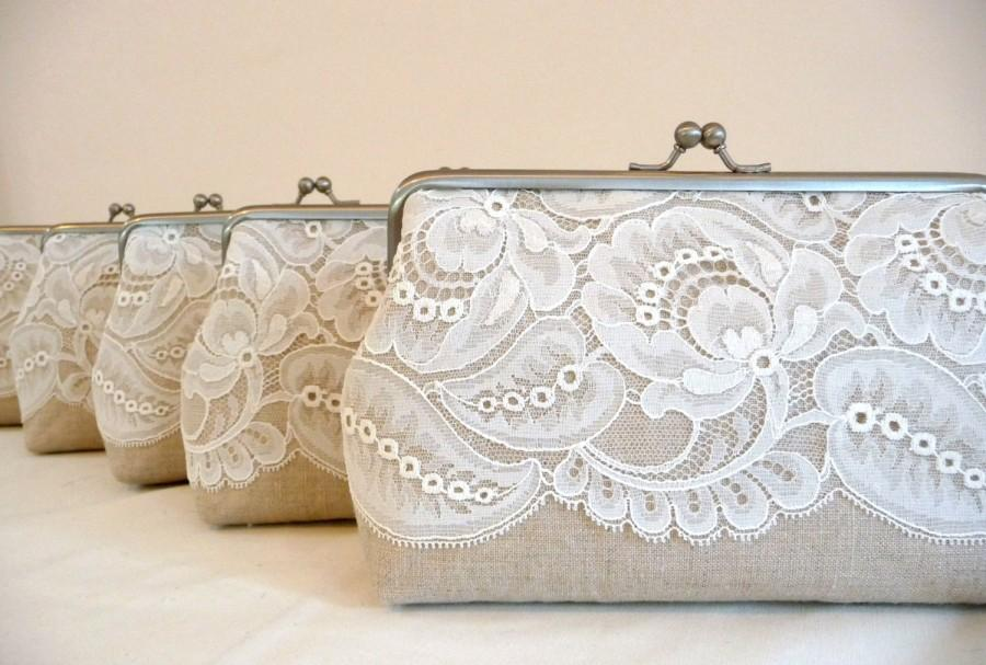 Mariage - Bridesmaid Leaf Lace Clutch Set of 5, Linen Lace Clutch Set, Personalized Wedding Lace Clutch set of 6, Seven Inch Frame