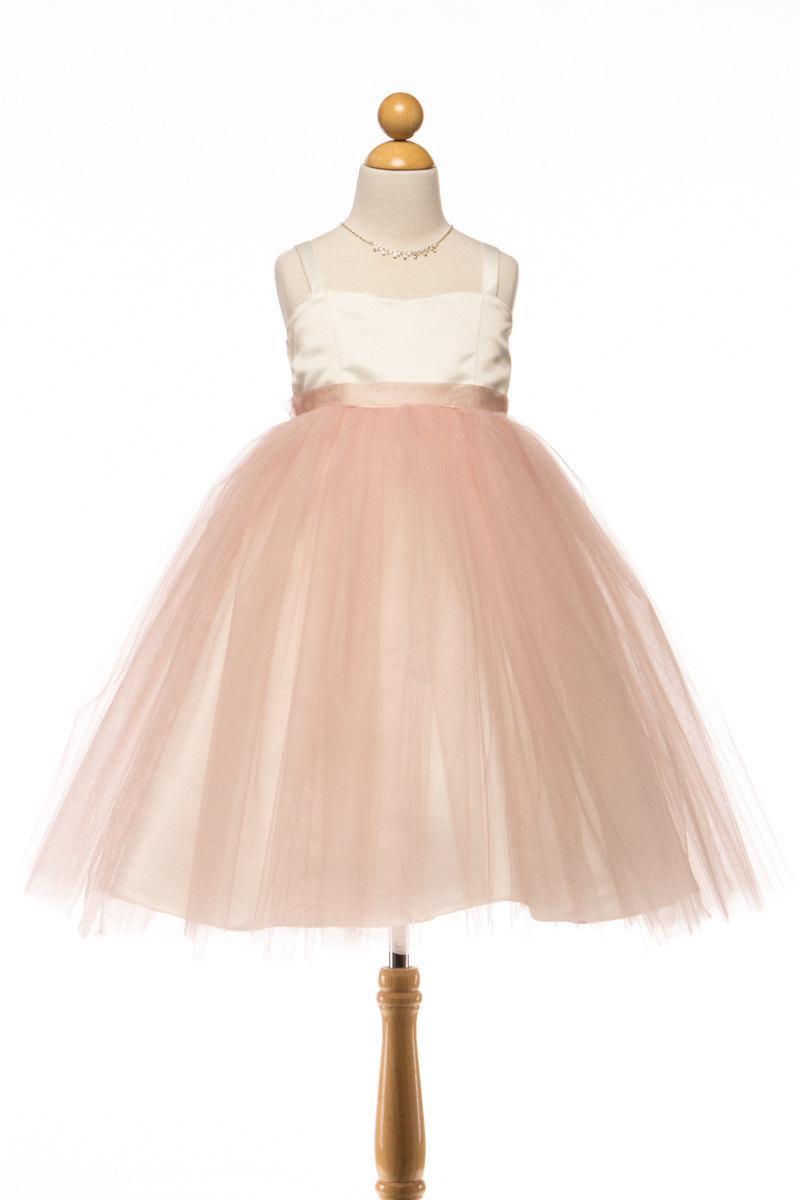 Свадьба - Blush Satin and Tulle Flower Girl Dress