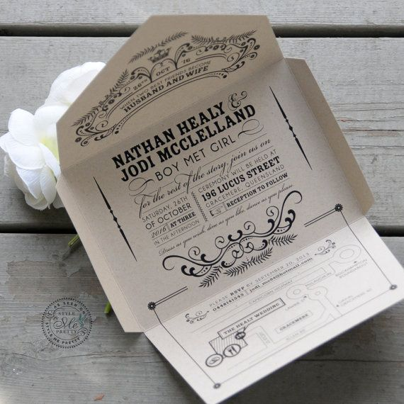Wedding - Kraft Self-mailer Wedding Invitation, Eco Friendly, Recycled, Quirky & Whimscial, Seal And Send, Less Waste, Vintage Chic // Open-me-Softly